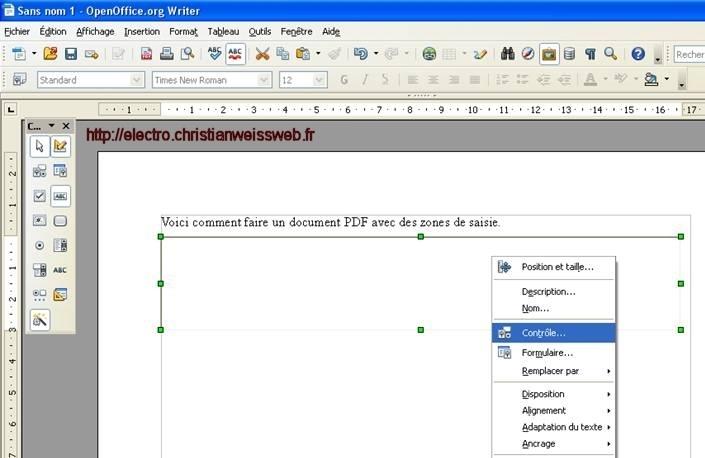 Faire un pdf avec des zones de saisie le site de - Convertir un fichier pdf en open office writer ...